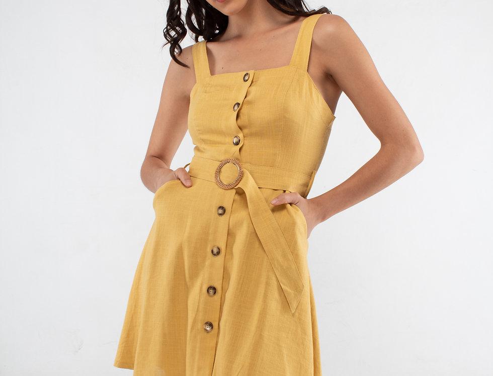 Vestido de botones amarillo