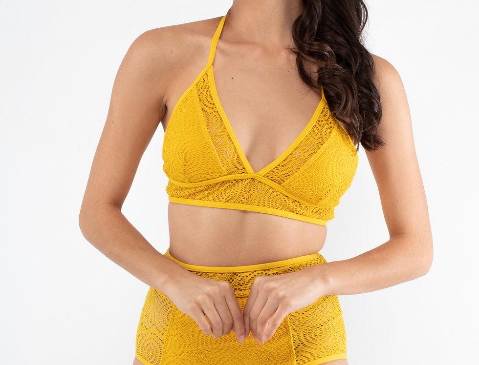 Bikini amarillo simulado tejido