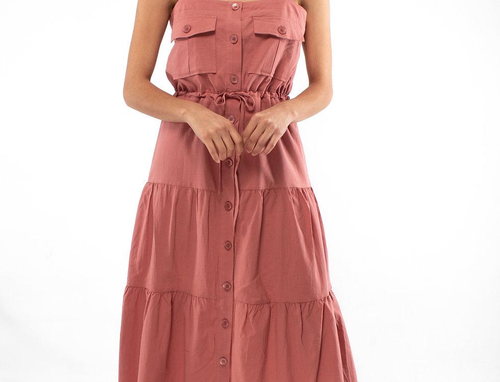 Maxi vestido rosa de olanes