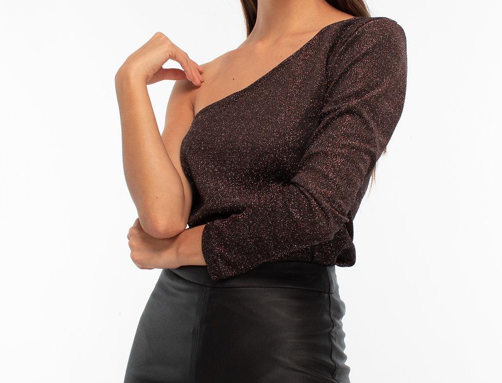 Blusa un hombro negro-plata