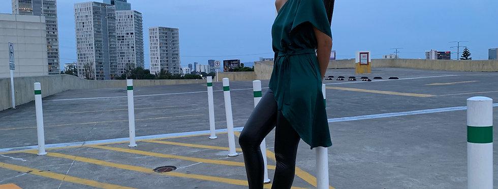 Blusa largo asimétrico verde