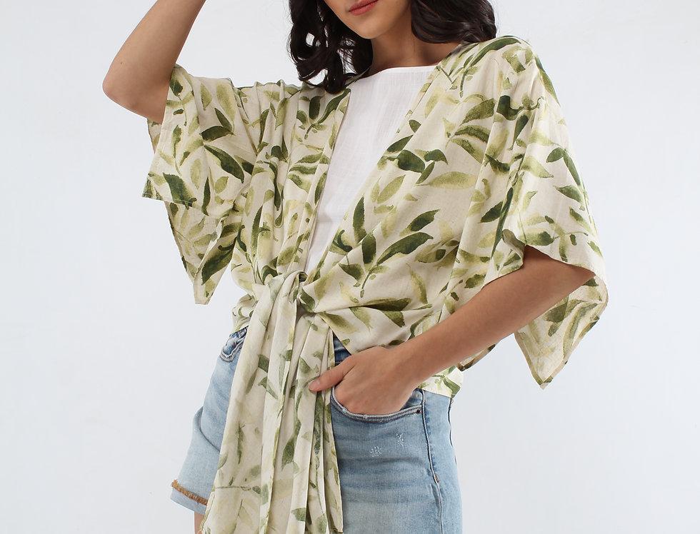 Blusa abierta estampado tropical