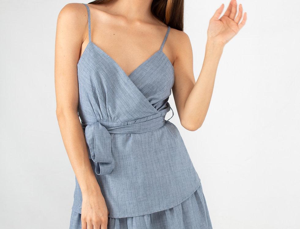 Vestido de algodón azul