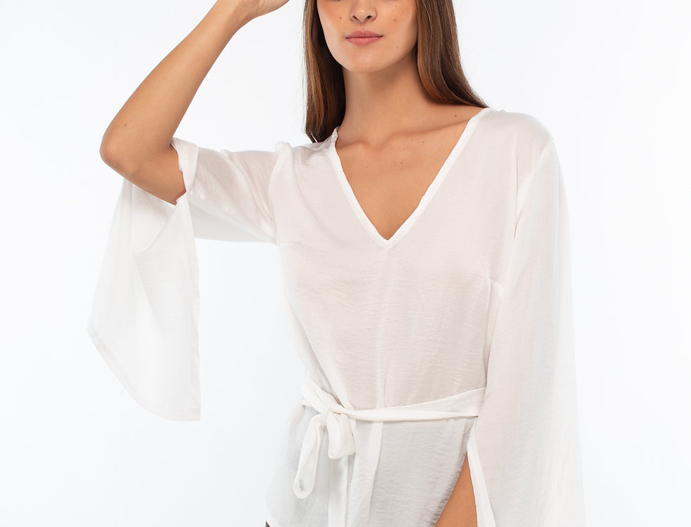 Blusa satinada manga abierta