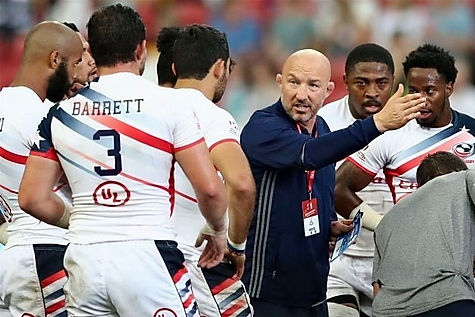 Phil Greening coaching the USA National 7's team