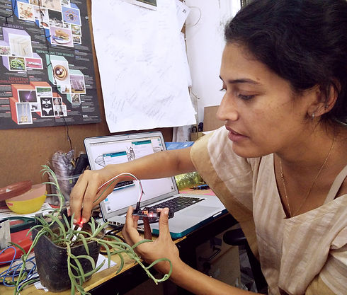 Tasneem Khan at The ISRO - working with a soil moisture sensor