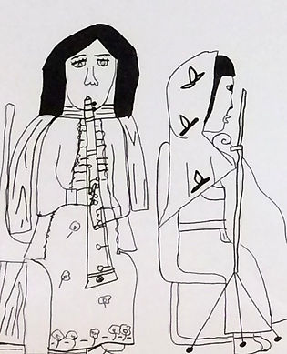 drawing of a girl wearing headscarf and playing the cello and a girl playing clarinet