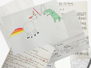 children's' drawings and song lyrics