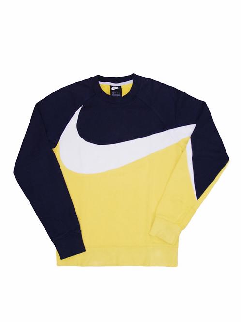 Sweat Nike Gros Swoosh Bleu Marine & Jaune - XS