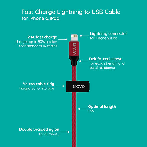 MOVO Fast Charge Braided Lightning to USB Cable for iPhone & iPad