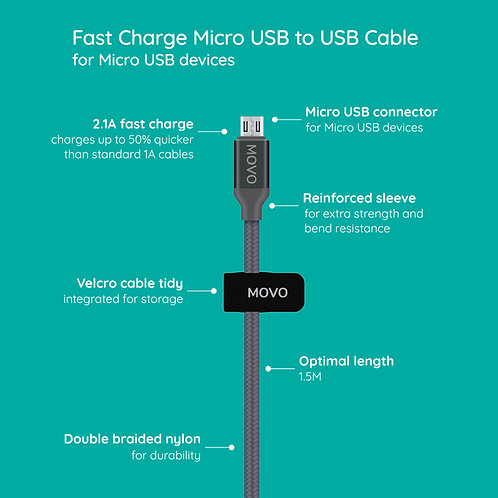 MOVO Braided Micro USB Cable 1.5M Fast Charge Samsung, Sony, Huawei, Motorola