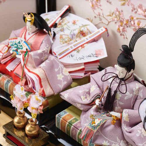 雛人形 正絹友禅 桜刺繍屏風
