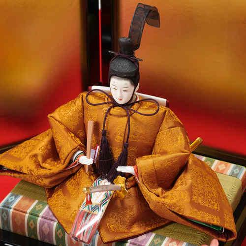 雛人形 正絹西陣織 黄櫨染