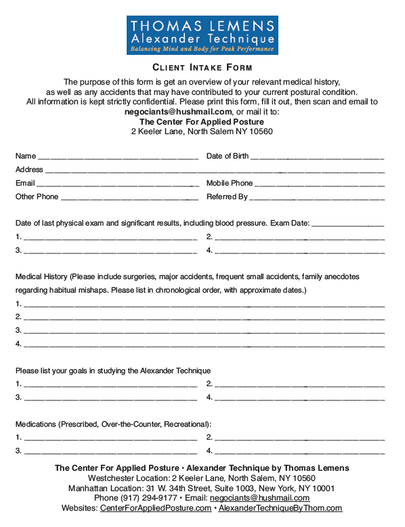 Download our new Intake Form. It's Easy!
