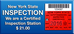 New York State INSPECTION We are a Certified Inspection Station, $21.00