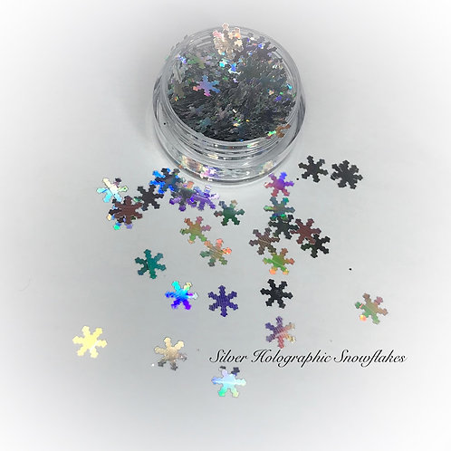 Silver Holographic Snowflakes