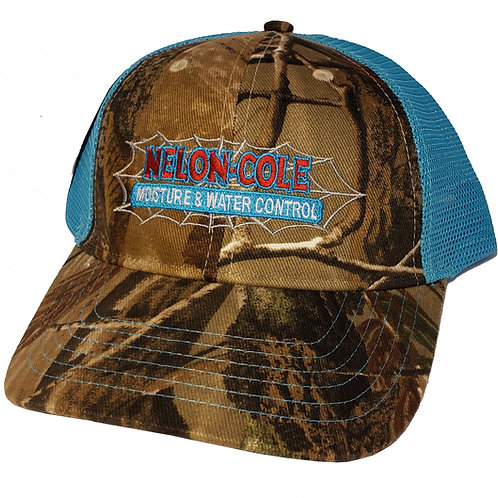 Nelon-Cole Moisture Control - Realtree Camo Hat - Brown and Blue
