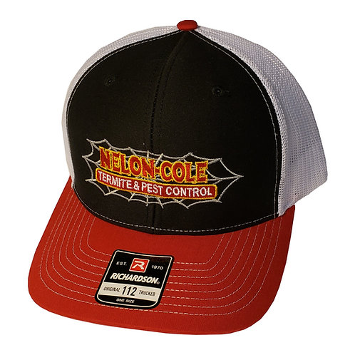 Nelon-Cole Pest Control - Snapback Trucker Hat - Black, Red, and White