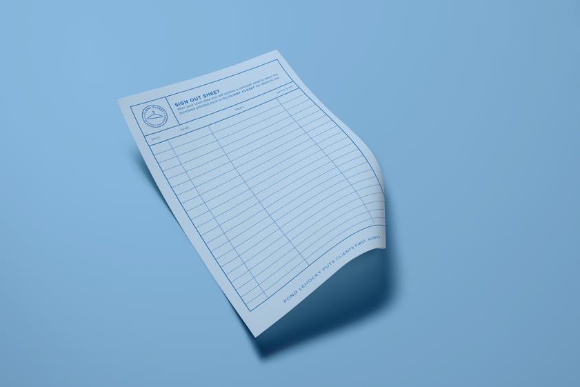 Client Closet sign-out sheet