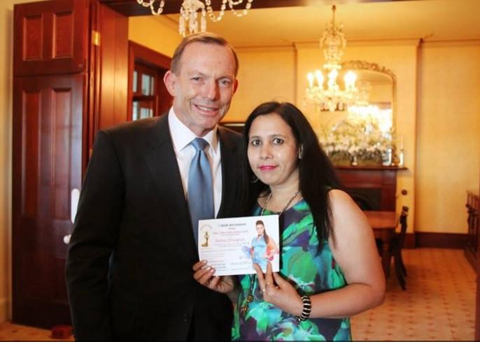 Sweccha Kulshreshtha with the former Australian PM Tony Abbott