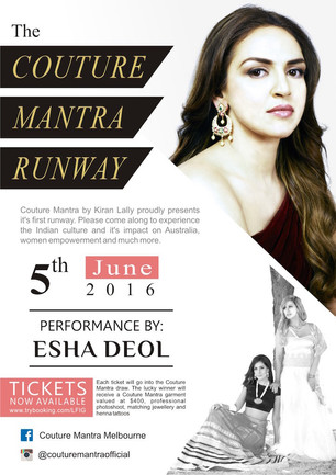 Esha Deol coming to Melbourne as a Showstopper for Kiran Lally's Couture Mantra Showcase on 5th