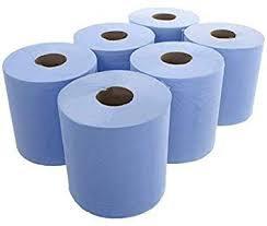 6 x 150m Quality Jumbo Blue Centrefeed Roll