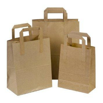 Brown Paper Tape Handle Carrier Bags