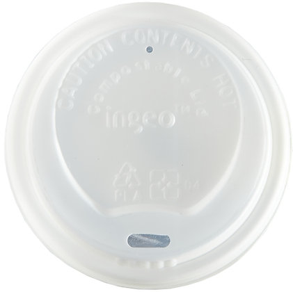 8oz White Domed, Compostable, Sip-Thru Travel lid