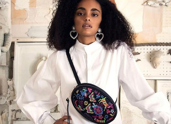 Otomi Embroidered Leather Fanny Pack