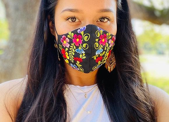 Black Garden Embroidered Headband