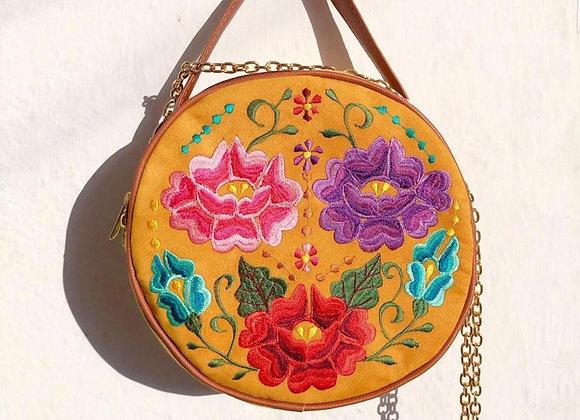 Lucia Crossbody Handbag - Mustard Yellow & Tan