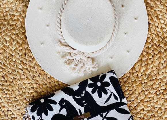 Black Otomi Embroidered Crossbody Clutch