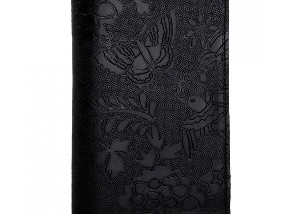 Otomi Stamped Leather Passport Holder - Black