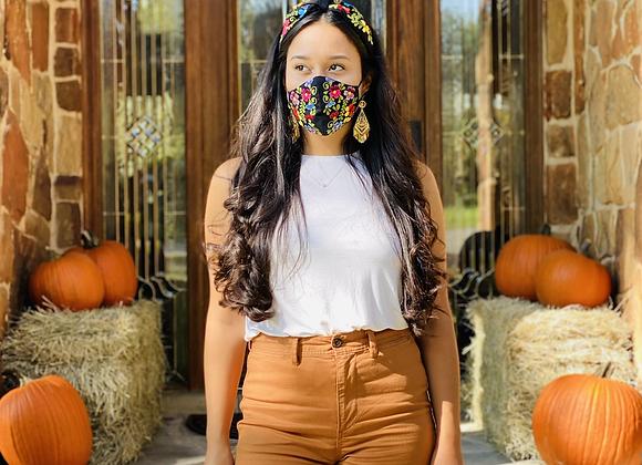 Black Garden Embroidered Mask