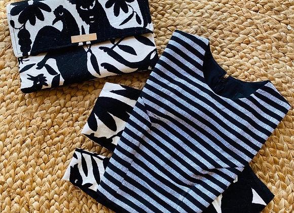 Black & White Otomi Crop Top