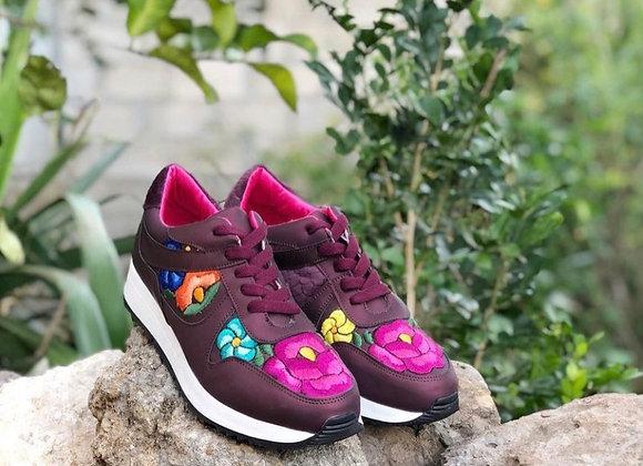 Juliana Tennis Shoes - Burgundy