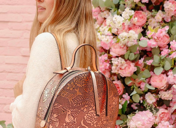 Otomi Stamped Leather Backpack - Rose Gold