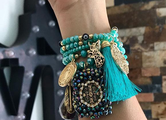 Turquoise Charm Fringe Bracelet