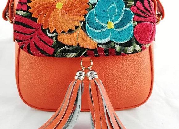 Tatiana Leather Crossbody - Orange