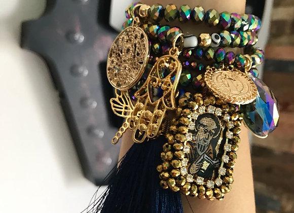 Midnight Multicolor  Charm Fringe Bracelet