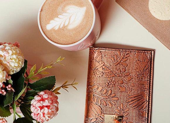 Otomi Stamped Leather Passport Holder - Rose Gold