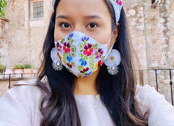 White Garden Embroidered Mask