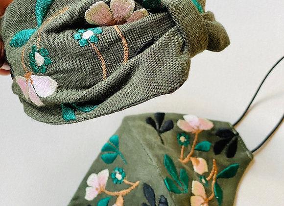 Olive Leaf Embroidered Headband