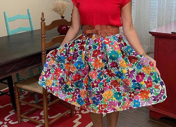 Zincantan Embroidered Poplin Skirt