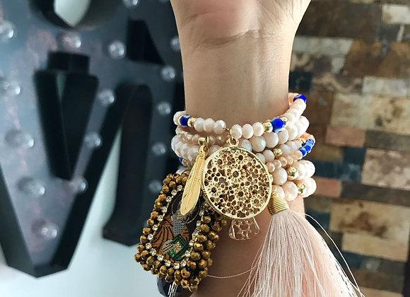 Peach Fringe Charm Bracelet