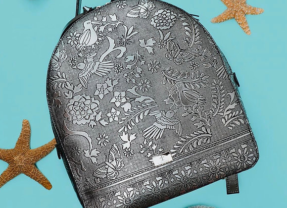 Otomi Stamped Leather Backpack - Silver