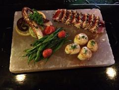 tuna sashimi scallops salt plate