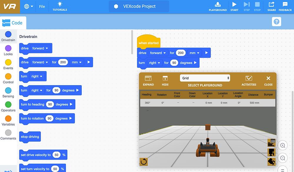 Área de programação virtual do VEXcode VR
