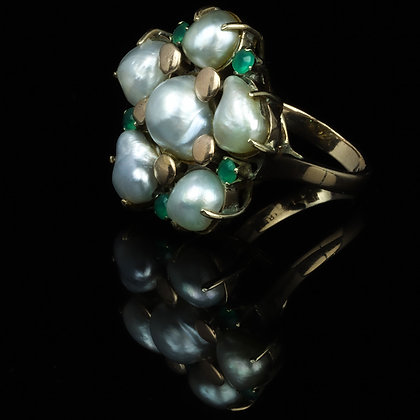Arts and Crafts Baroque Pearl Emerald Ring