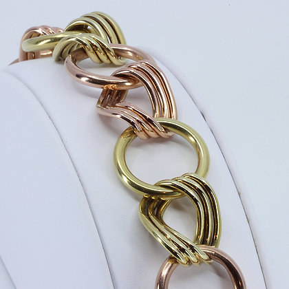 Two Tone Sculpted Gold Chain Bracelet